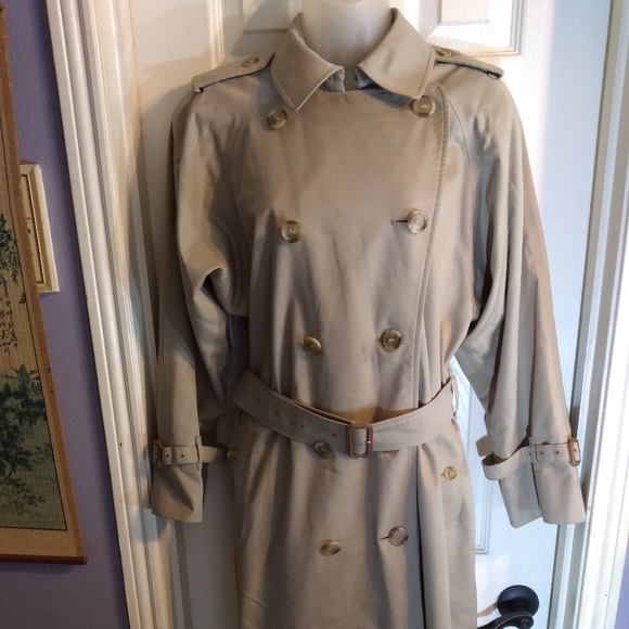 Vintage Burberry Trench Coat Double Breasted Sz L